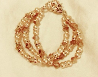 Champagne - Neutral pink beads with Swarovski spacer beads