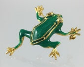 Vintage Green Frog Brooch - Green Enamel Gold Rhinestone Eyes Leaping Toad Brooch