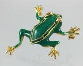 Vintage Green Frog Brooch - Green Enamel Gold Rhinestone Eyes Leaping Toad Brooch