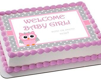 Baby Shower Edible Cake Topper, Baby Shower Cake Image, Owl Baby Shower Cake ,