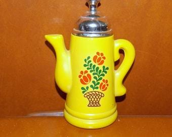vintage avon yellow koffee klatch coffee pot field of flowers