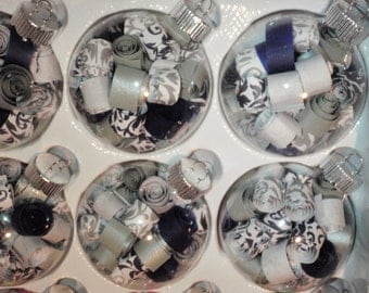 Set of 12 paper filled glass ornaments, choice of colors