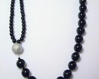 Asymmetrical Black & Silver Glass Pearl Necklace