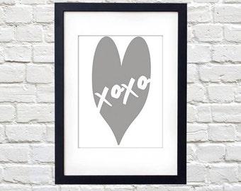 XOXO in Gret Heart Printable