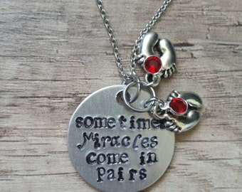 "Twins Necklace ""Miracles come in pairs"""