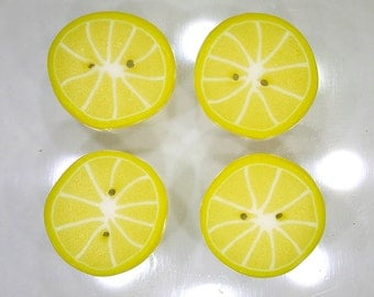 Lemon Citrus Slices - handmade polymer clay buttons