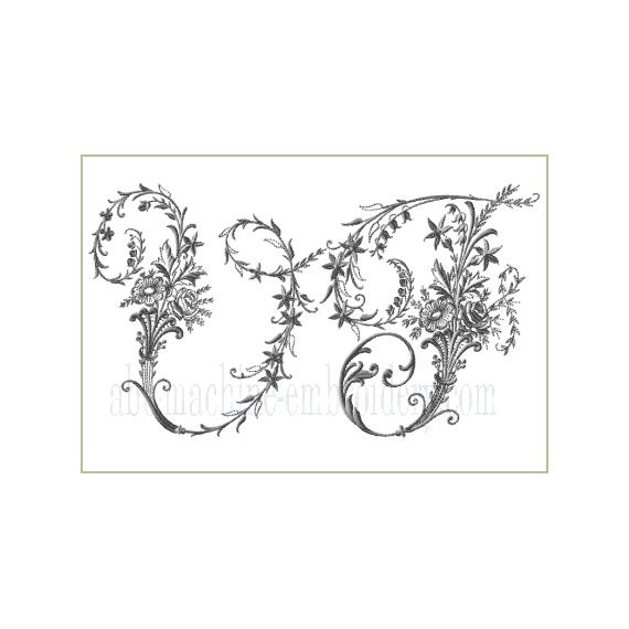 Victorian whitework font machine embroidery letters for