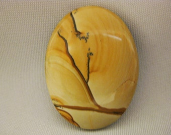 African Queen Picture Jasper 40x30mm Handcrafted Stone Cabochon Gemstone for Wire Wrapping or Jewelry Making, No. 2103