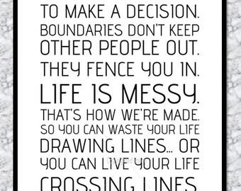 "Grey's Anatomy Print - ""Crossing Lines"" Quote"