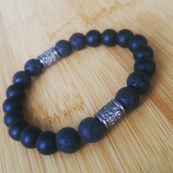 black agate semi precious gemstone and lava rock 8mm