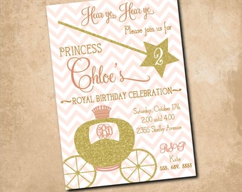 Princess Birthday Invitation printable/Digital File/princess party, girl birthday, pink and gold, gold glitter, wand/Wording can be changed