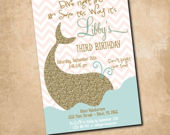Whale Birthday Invitation printable/Digital file/girl swim party invitation, girl pool party invitation/Wording can be changed
