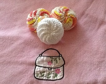 A set of 3 round cotton scrubbies for your bath or kitchen