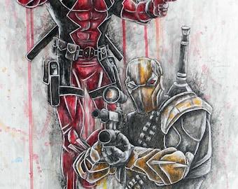 Deadpool and Deathstroke Artwork Print