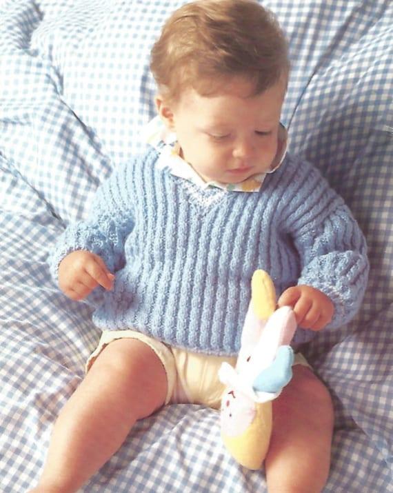 Vintage Knitting Pattern Baby V Neck sweater pullover aran