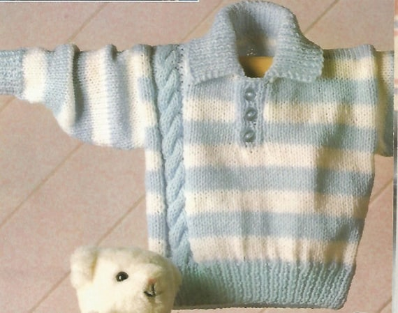 Baby Boy Pullover Knitting Pattern : Vintage Knitting Pattern Baby sweater pullover collar aran