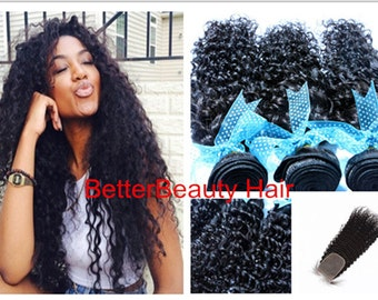 RICH NAKED virgin Hair Extensions hair Weave  Human Hair weft 3Pcs With 1 Closure  curly hair weaving black women hair