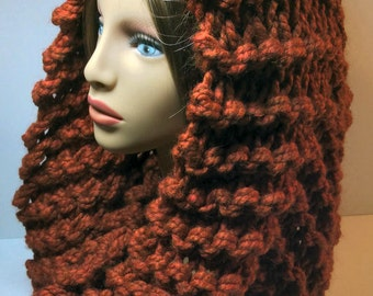 Hooded Mobius Scarves - Shades of Rust and Brown, Hand Knit, Wool/Acrylic Blend