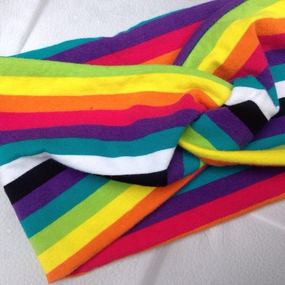 Women's Turban Style Knit Fabric Headband - rainbow Noir. Knot Style Headwrap - Knit Headband