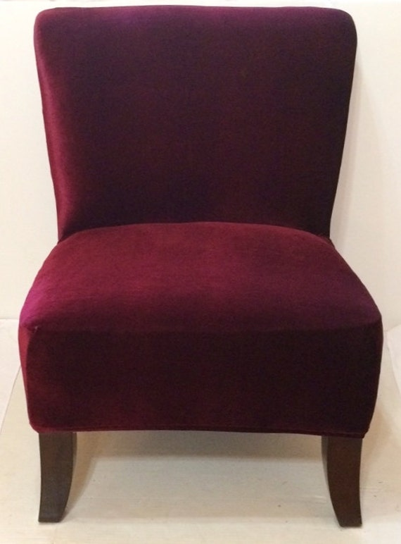Slipcover Cranberry Velvet Stretch Chair By