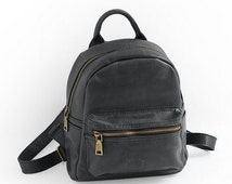 Cute small Campus Black Leather Backpack in Cow-hide Leather