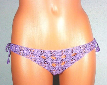 sexy thong in a floral pattern, lavender, crocheted lace, size S