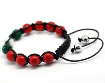 Red Turquoise Green White Rhinestone Macramé Shamballa Bracelet 7-10 Inches Adjustable