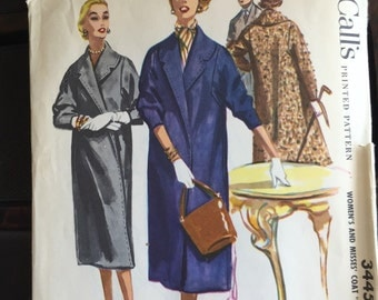 "McCall's 3445; ©1955; Women's and Misses' Coat ""Easy to Sew"", Uncut"