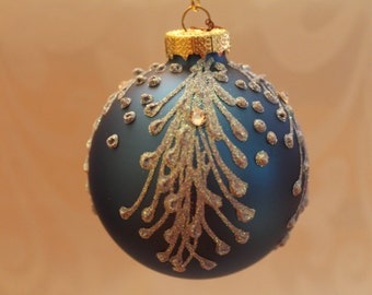 Royal Blue Matte Ornament with baby Blue Decorations #539