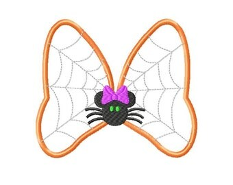 Halloween Monogram or Initial Spider Web Bow Design Embroidery Applique Design