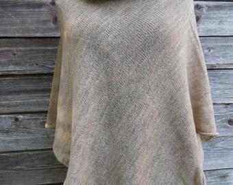 Knit poncho, women poncho, light brown poncho,knit shawl,knit cape,knit scarf,knit capelet,modern clothing.