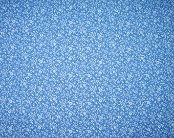 Cotton Fabric, Blue With Tiny White Flowers, 1-1/4 Yard