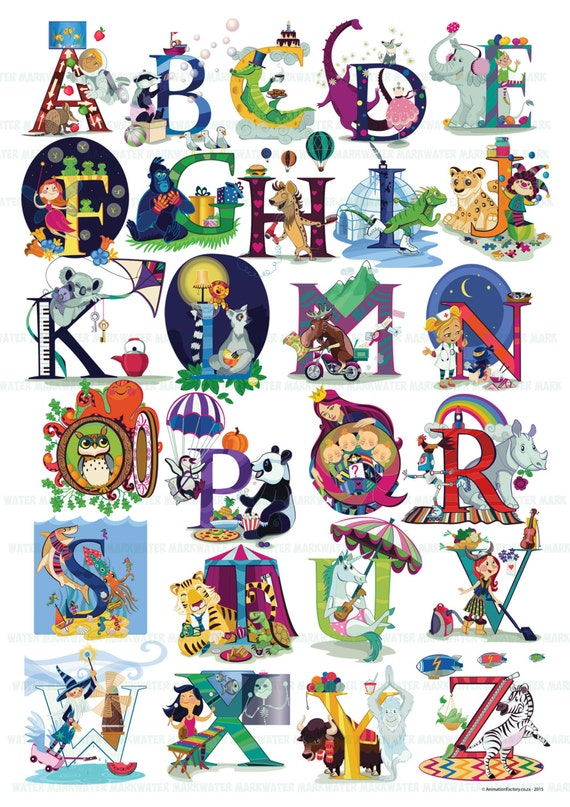 Beautiful Detail Alphabet Poster, Animal & Character ABC wall art.