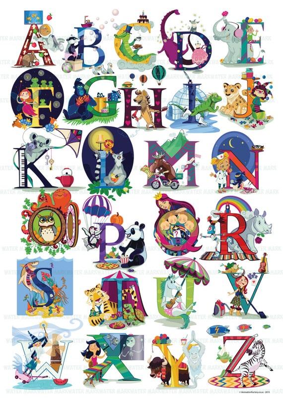 Beautiful Detail Alphabet Poster, Animal & Character ABC wall art.