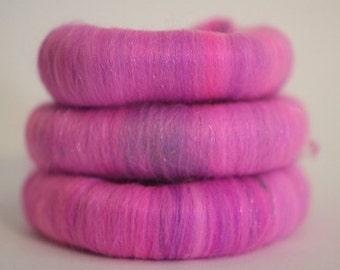 Wool Fiber Spinning Batt Poppin' Purple Puni