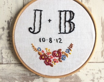 Personalised Initials And Date Anniversary Couples Embroidery Art