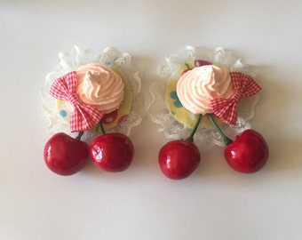 Delightful Desserts Cherry On Top Pair Yellow White and Red