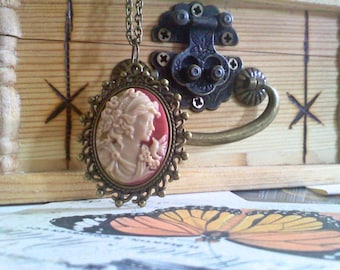 Pink and Cream Bronze Cameo Necklace