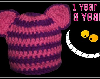 Cheshire Cat Hat or Beanie 1 Year to 3 Years