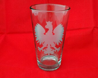Polish Eagle Etched Pint Glass