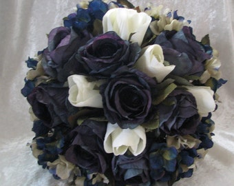 Navy blue and silver brides wedding bouquet 2 pieces