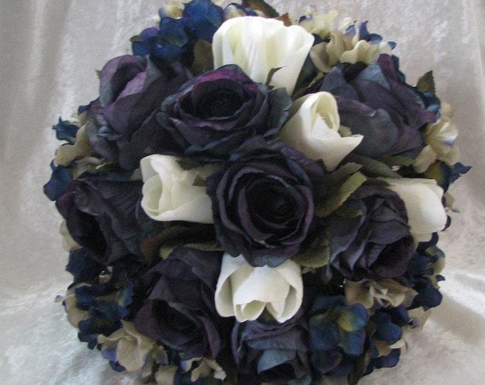 Navy blue and silver brides wedding bouquet 2 pieces