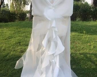 New Wedding Chiffon Chair Sash/Hood/Wrap/Jacket/Cover with Ruffled Chiffon Tail