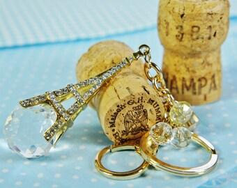 Tassel Rhinestone Effiel Tower,  Keychain Eiffel Tower, Fashion Metal Trinkets Key Chain Ring for Women Bag,  Purse Charm Pendant