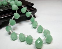 Green Chalcedony quartz faceted pear beads. 10 pieces Apple Green teardrop beads  DIY loose beads