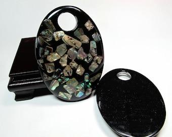 Paua abalone pendant, Blue Green Shimmering Mosaic pendant 60x85mm, Paua shell piece