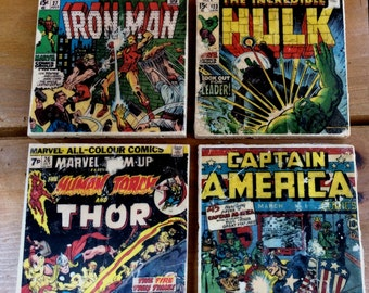 """Marvel Comics coasters, set of 4, 4"""" x 4"""" tiles, Iron Man, Hulk, Thor & Captain America comic book covers, other comics and prints available"""