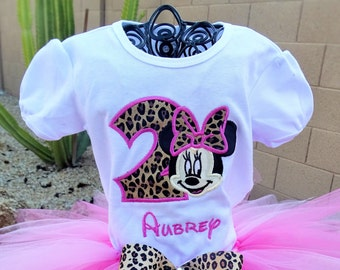 Personalized Leopard Minnie Mouse Birthday shirt only.