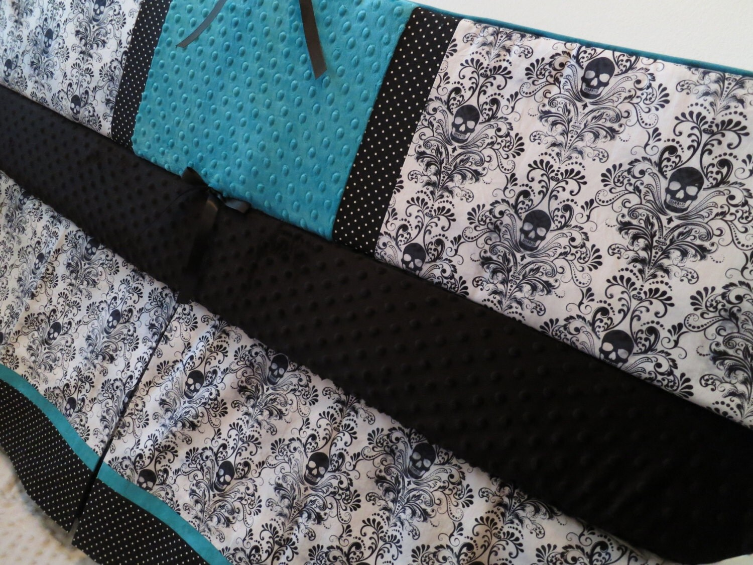 Skull Baby Bedding Black White and Teal Goth by CottonSerenity