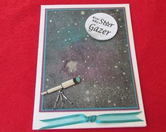 Star Gazer Birthday Card, With telescope,  A special card for a Special Person, Happy Birthday!
